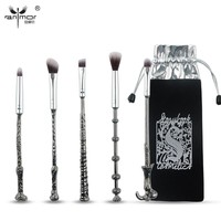 New Metal Handle 5 PCS/SET Makeup Brush Set Synthetic Hair Brochas Maquillaje For Eyes Makeup Blending Brushes With Bag QT001