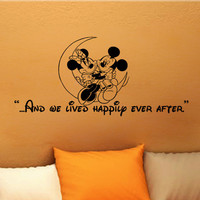 Mickey Mouse Minnie Mouse And we lived happily ever after wall quote vinyl wall art decal sticker 14 x 31