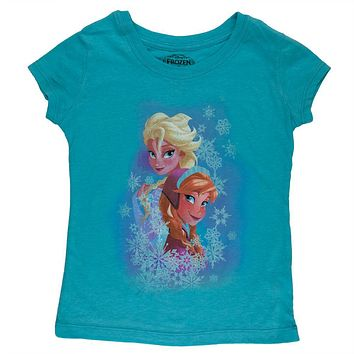 Frozen - Elsa and Anna Snow Collage Girls Juvy T-Shirt