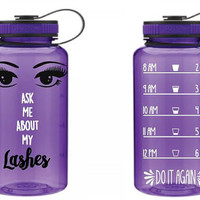 Ask Me About My Lashes Younique Custom 32 oz Water Bottle - Daily Motivation - Funny -  Workout - Motivation - Fitness -  Water Tracker -