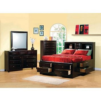 G200413 - Phoenix 10-Drawer Bedroom Set - Deep Cappuccino