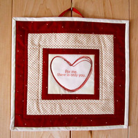 "Quilted Mug Rug, Mini Wallhanging ""For Your Valentine"" Quiltsy Handmade, Placemat, Snack Mat, Mini Quilt"