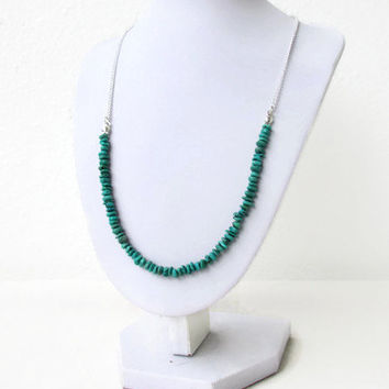Turquoise necklace, semi precious gemstone necklace, green gemstone chip necklace, Mothers day gift for her, Handmade in the UK