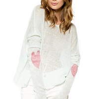 Heart Knitted Hooded Sweater