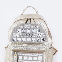 Rhinestone Crystal Stud Embellished Backpack Bag