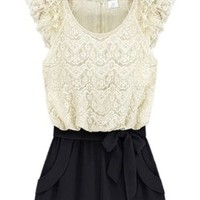 Sheinside Women's White Black Sleeveless Lace Belt Jumpsuit