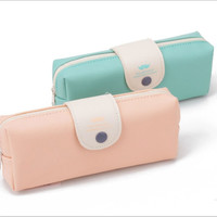 Korean Candy Color Pencil Case Pu Leather Pencil Bag For Girl Stationery School Supplies Fashion Makeup Bag for Women BD06