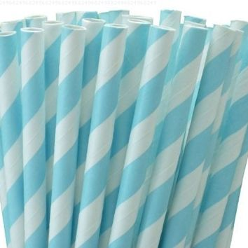 """25 Paper Drinking Straws Baby Blue Stripes 7.75"""" Retro Vintage Style Durable"""