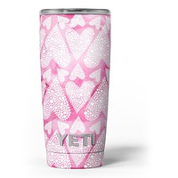 The Pink Watercolor Mosiac Hearts Yeti Rambler Skin Kit