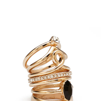 FOREVER 21 Varied Stackable Ring Set Gold/Clear 7