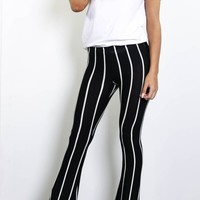 Hyped Up Black Striped Bell Bottom Pants
