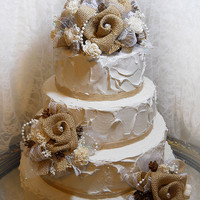 Ready to Ship! Cake Topper Picks, Set of 3. Handmade of burlap, sola flowers, pine cones, white lace, shimmering tulle & pearls.