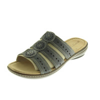 Naturalizer Womens Janae Leather Contrast Stitch Slide Sandals