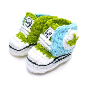 Crocheted Baby Booty Slippers Chuck Taylors Sneakers Green Blue