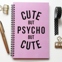 Writing journal, spiral notebook, bullet journal, cute notebook, sketchbook, pink and black, blank lined grid - Cute but psycho but cute