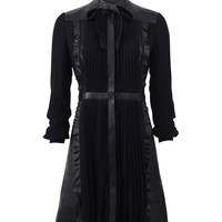 Valentino Tie Neck Leather & Lace Dress