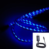 IMZshop Black Blue Visible Flowing LED EL Light 8 Pin USB Sync Data Charging Charger Cable for Apple iPhone 5S 5C 5G 5, iPad Air 5 4 Mini Retina 2, iPod Nano 7th Gen, iPod Touch 5th Gen