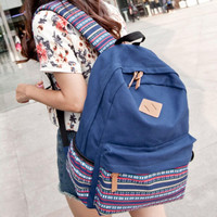 Navy Blue Canvas Ethnic Style Large Backpack Travel Bag School Bookbag