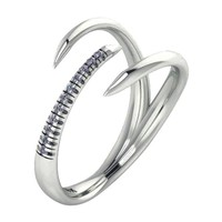 14k White Gold Diamond Claw Ring