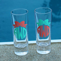 2 Personalized Monogrammed Shot Glass with Bow by alishasdesigns
