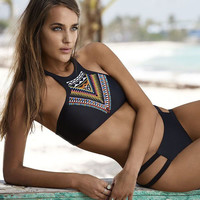 Bra high neck bikini set print women swimwear bikinis crop top biquini swimsuit bathing suit
