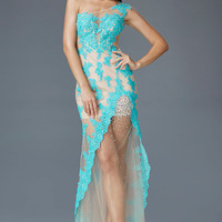 G2051 Nude Sheer Illusion Lace One Shoulder Prom Dress