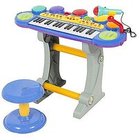 Baby,Toddler Electronic Toy DJ Keyboard Piano Set w Mic Records Playback Stool