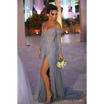 Stephanie Saliba Long Sleeve Off The Shoulder Prom Dress With Side Slit For Sale