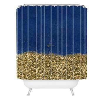 Social Proper Dipped in Gold Navy Shower Curtain