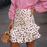 New women's summer polka dot skirt Fashion irregular ruffled pleated skirt