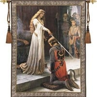 The Accolade Medieval Knight Being Knighted Woven Wall Tapestry