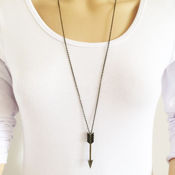 New fashion jewelry long chain arrow pendant necklace gift for women girl N1763