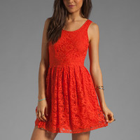 Motel Evie Lace Dress in Coral Red from REVOLVEclothing.com