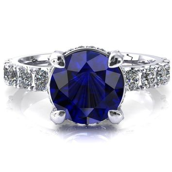 Grandeur Round Blue Sapphire 4 Prong Basket and Half Eternity Fire Ring