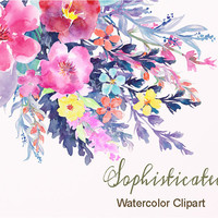 Watercolor Flower Collection Sophisticated, Watercolor Clipart