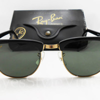 B&L, Ray-Ban, W0365, Clubmaster, Vintage, Rare, Fabulous, Black, Gold, Unisex, Sunglasses, Accessories