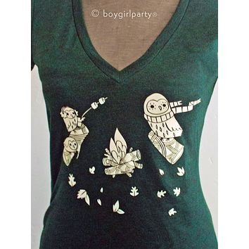 Fitted V-Neck Graphic Tee for Women – Nature Forest Camping T-Shirts