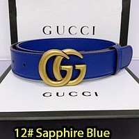 Gucci Belt Fashionable Gucci Waistband 18 colors available LV Smooth Buckle Leather Belt Blue