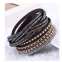 Trendy Crystal and Stud Accented Black Leather Wrap Bracelet
