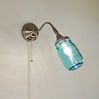 Mason Jar Wall Sconce featuring a Blue Pint Ball Mason Jar - Upcycled Hanging Wall Sconce Stainless Steel Lighting Fixture - BootsNGus Lamps