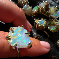 raw opal ring, gift for her, Australian opal ring, natural opal ring, opal birthstone ring, rough opal ring