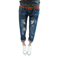 Ripped Loose Low-waist Ankle-length Denim Pants - 2 colors