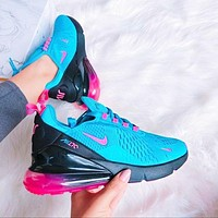 Nike Air Max 270 Fashion New Hook Mesh Leisure Sports Running Shoes Blue