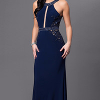 GLOW G598 Navy Prom Dress Evening Gown or Mother of the Bride