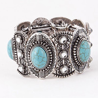 Antique Turquoise Stone Detailed Stretch Bracelet