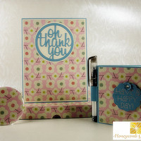 Gift Set, Greeting Card and Gifts, Pocket Mirror, Post it Note Holder, All In One Gifts, Unique Gift, Matching Gift Set, Oh Thank You Blue