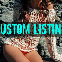 Summer Sweater- Lightweight Lacy Cotton Crochet and knit beach cover up- Swimsuit cover- light spring sweater- open work, open weave sweater