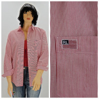 Vintage 80s Polo Ralph Lauren striped cotton oxford shirt M / L, 1980s Polo preppy long sleeve red white striped blouse, SunnyBohoVintage