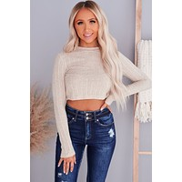 Singled Out Long Sleeve Crop Top (Natural)