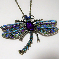Large Rhinestone Dragonfly Pin Pendant, Trembler Wings, Blue Purple Green Rhinestones, Figural Bug Jewelry, Statement Necklace 218